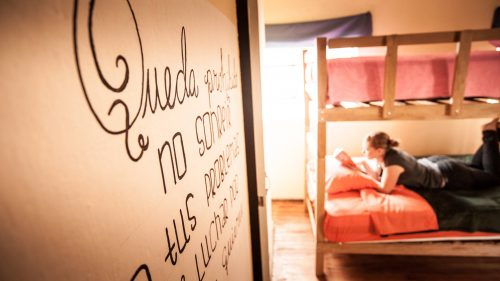 reading in the girl dorm of Econunay Backpacker Hostel