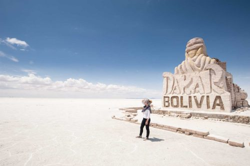 Dakar Statue in the middle of the Uyuni Salar