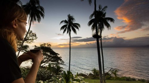 Drinking coffee at sunset in Taveuni island