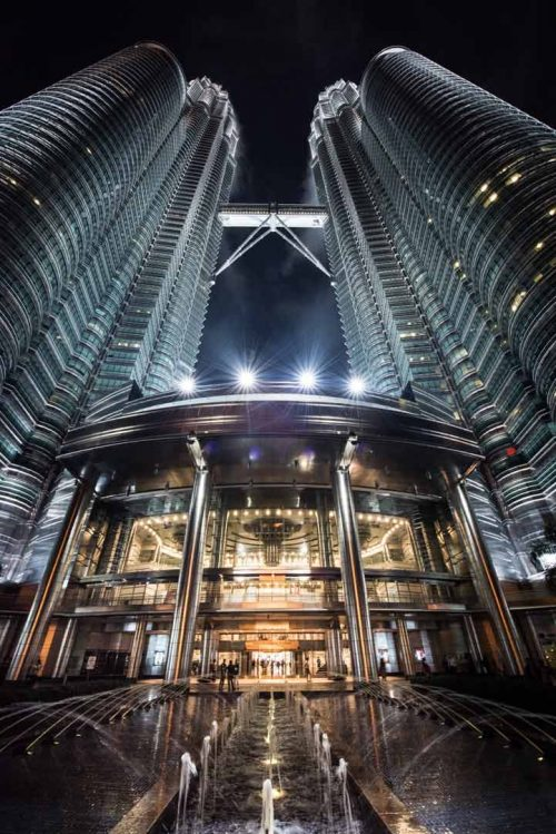 The impressive entry of the petronas tower
