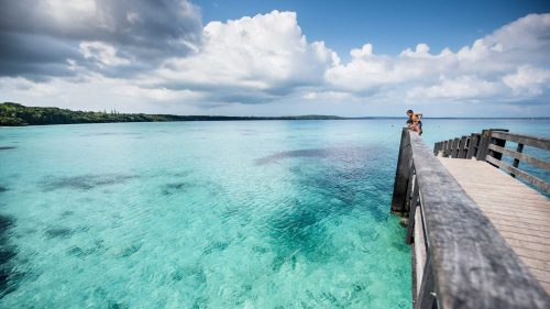 Kids fishing in New Caledonia Lagoon
