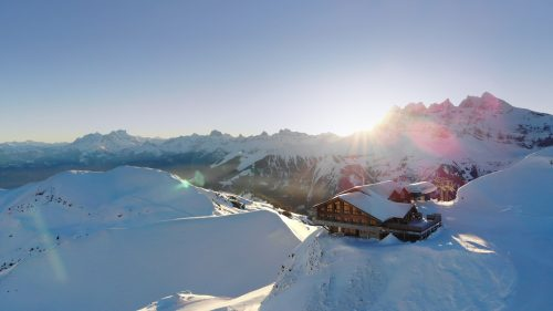 Drone photo of the cookie cafe with Les Dents du Midi