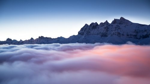 Dents du Midi over a cloud sea at sunrise